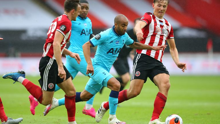 Moura burst through Sheffield United's rearguard to create the opening...
