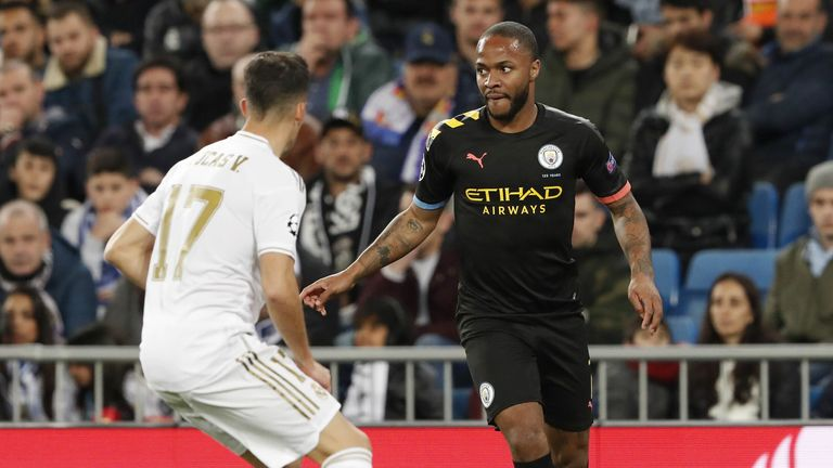 Lucas Vazquez of Real Madrid (l) and Raheem Sterling of Manchester City during the Champions League round of 16 first leg match in Spain