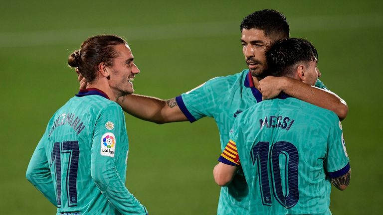 A new-look narrow front three, with Lionel Messi behind Griezmann and Luis Suarez, linked up well all evening