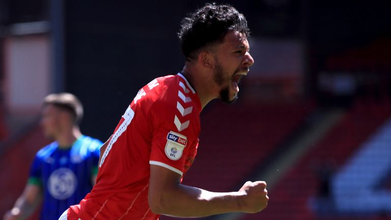 Charlton Athletic's Macauley Bonne celebrates scoring his side's second goal of the game