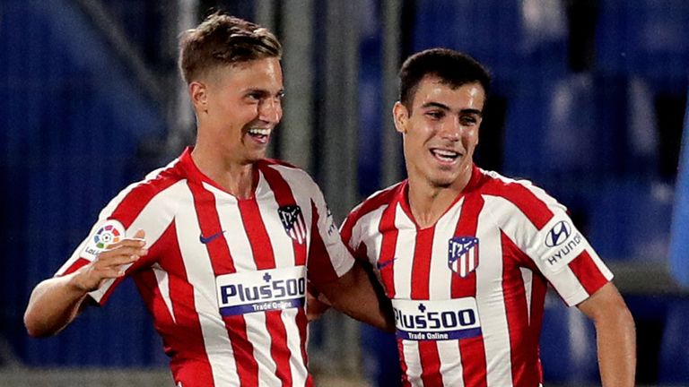Marcos Llorente celebrate his opening goal in Atletico Madrid's win at Getafe