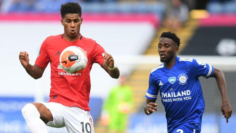 Marcus Rashford controls the ball as Wilfried Ndidi looks on