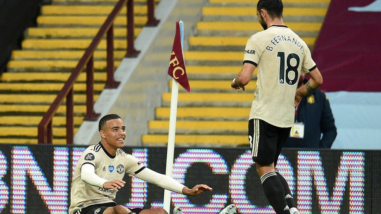 Mason Greenwood celebrates with Bruno Fernandes after scoring for Manchester United against Aston Villa