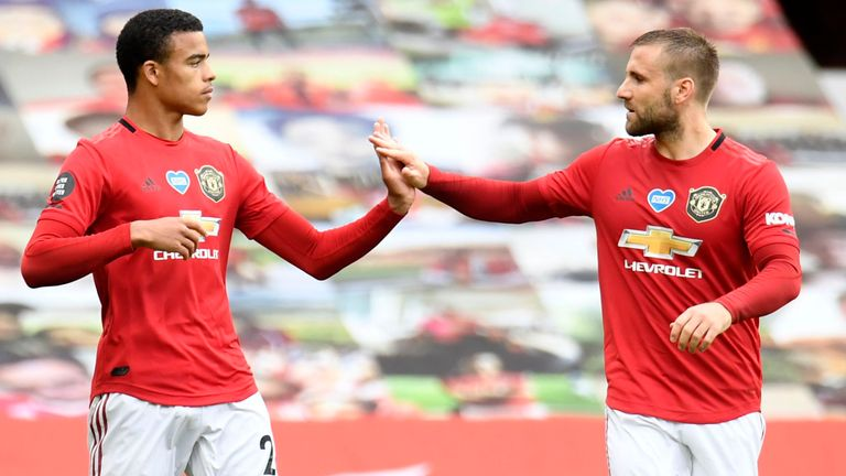 Mason Greenwood of Manchester United celebrates with teammate Luke Shaw of Manchester United after scoring his team's first goal during the Premier League match between Manchester United and AFC Bournemouth at Old Trafford on July 04, 2020 in Manchester, England.