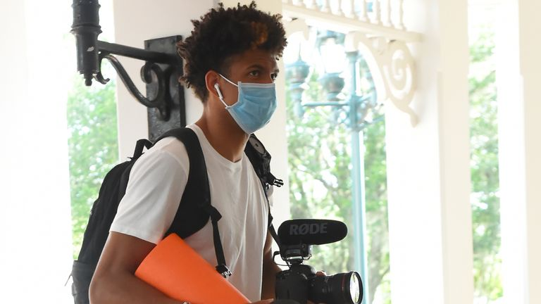Matisse Thybulle carries his video camera into the NBA's Orlando bubble