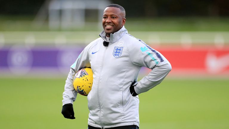 England U21 coach Michael Johnson during a training session at St George's Park