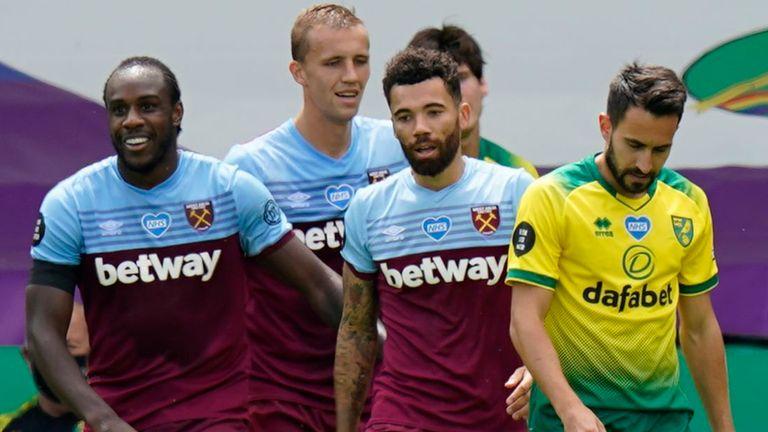 Michail Antonio celebrates scoring one of his four goals for West Ham against Norwich