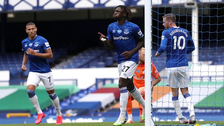 Moise Kean celebrates tapping Everton level in the first half at Goodison
