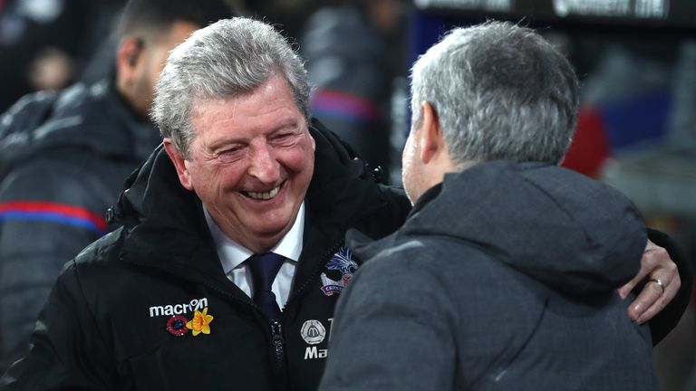 LONDON, ENGLAND - MARCH 05: Jose Mourinho, Manager of Manchester United and Roy Hodgson, Manager of Crystal Palace shake hands during the Premier League match between Crystal Palace and Manchester United at Selhurst Park on March 5, 2018 in London, England. (Photo by Catherine Ivill/Getty Images)