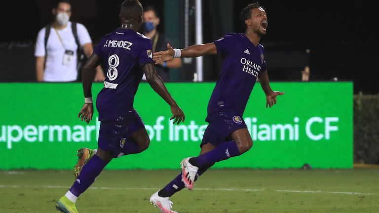 Nani of Orlando City SC celebrates scoring the winner against Inter Miami as part of the MLS is back Tournament at ESPN Wide World of Sports Complex