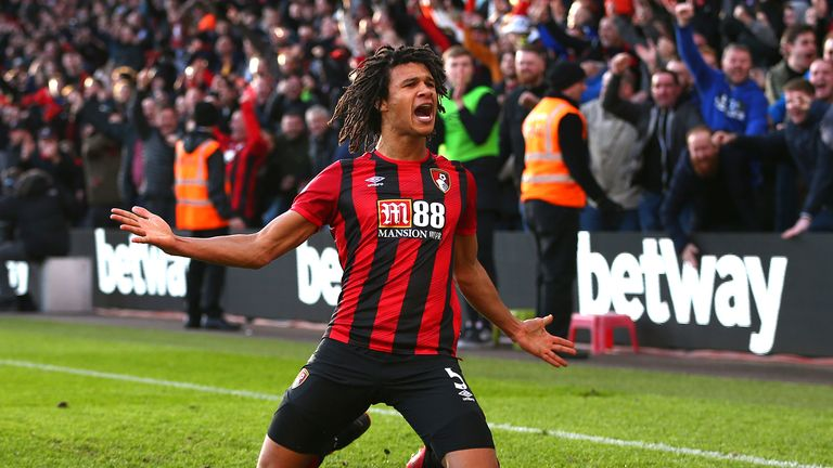 Nathan Ake of AFC Bournemouth celebrates after scoring his team's second goal during the Premier League match between AFC Bournemouth and Aston Villa at Vitality Stadium on February 01, 2020 in Bournemouth, United Kingdom.