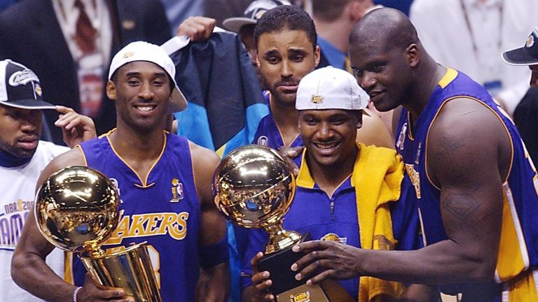 Relive Kobe Bryant and Shaquille O'Neal leading Phil Jackson's Los Angeles Lakers to their third straight NBA title in 2002.