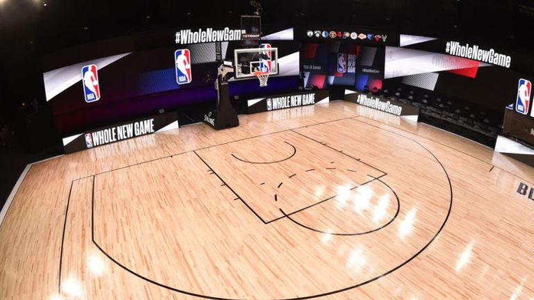 A look at one one of the three courts that will be used for games in the NBA restart as Disney World in central Florida