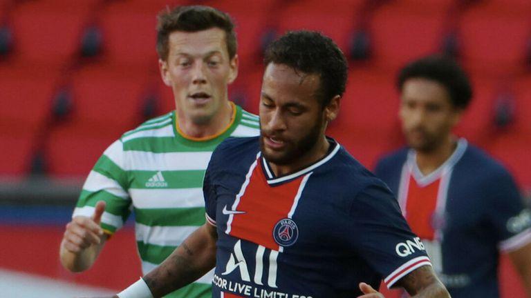 Neymar scored the second of PSG's four goals against Celtic at the Parc des Princes