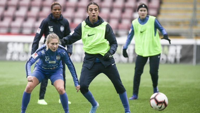 West Ham's new signing Nor Mustafa in action for her previous club in training