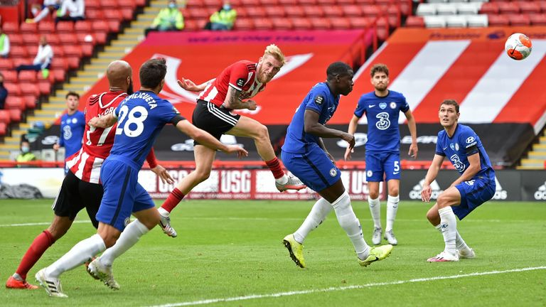 Oli McBurnie heads in Sheffield United's second goal against Chelsea