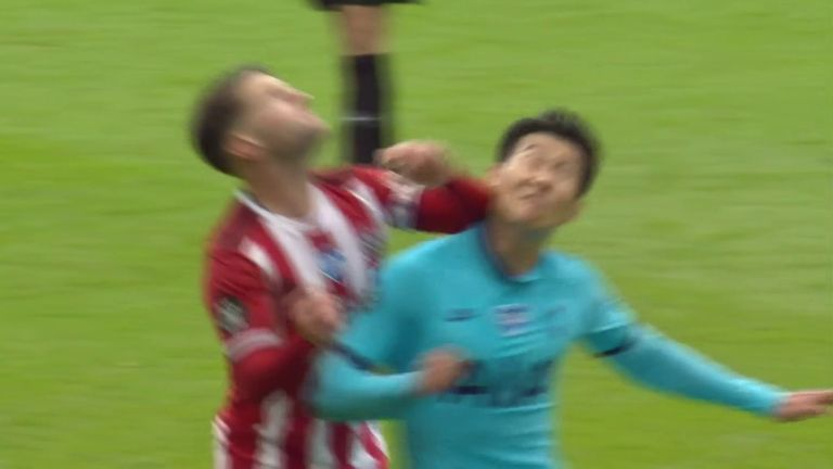 Oliver Norwood elbows Heung-Min Son, but escapes punishment