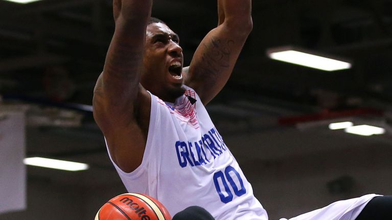 Ovie Soko throws down a dunk for Great Britain