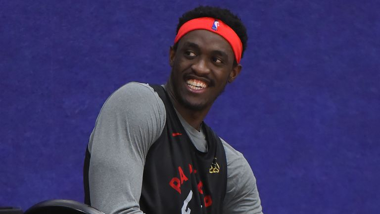 Pascal Siakam pictured during Raptors practice inside the NBA's Orlando bubble