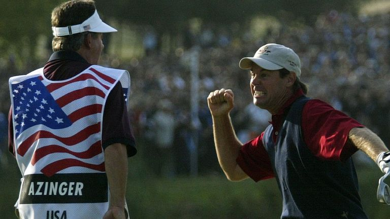 Paul Azinger's hole-out for Team USA sparked wild celebrations at The Belfry