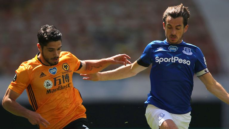 Wolves' Pedro Neto battles for possession with Everton's Mason Holgate