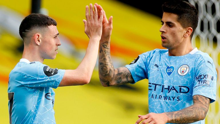 Phil Foden scored Man City's third at Vicarage Road