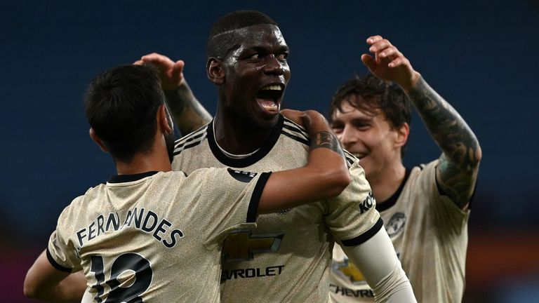 Paul Pogba scored his first Premier League goal since April 2019 in Man Utd's win at Aston Villa