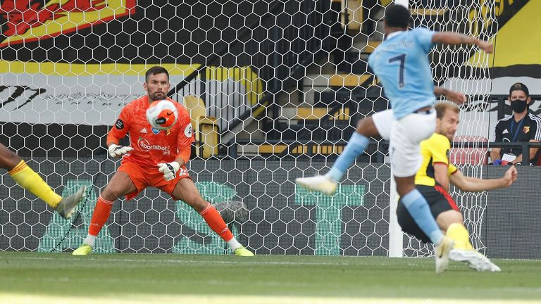 Raheem Sterling fires Manchester City ahead at Watford