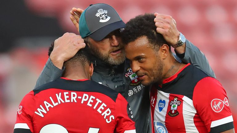 Ralph Hasenhuttl embraces Kyle Walker-Peters and Ryan Bertrand at full time