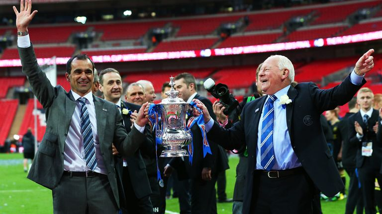 Roberto Martinez with former Wigan Athletic chairman Dave Whelan