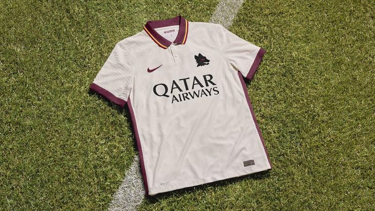Roma's ivory away kit is designed by Nike