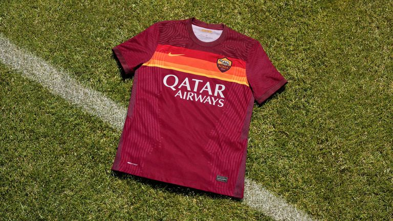 Roma's home kit pays tribute to the club's 1980 Italian Cup win