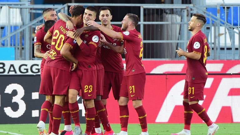 Federico Fazio celebrates his first goal during the Serie A match between Brescia and Roma