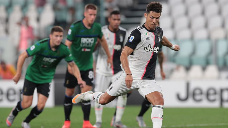during the Serie A match between Juventus and Atalanta BC at Allianz Stadium on July 11, 2020 in Turin, Italy.