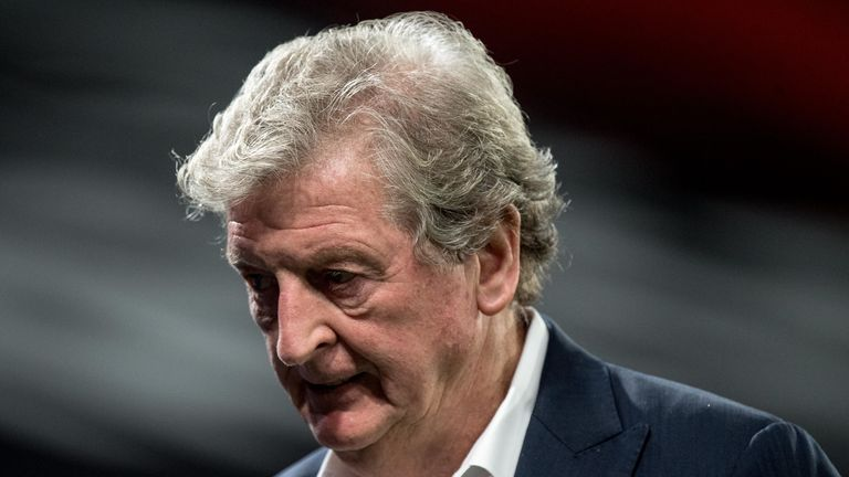 Roy Hodgson of Crystal Palace looks dejected after the Premier League match between Crystal Palace and Manchester United at Selhurst Park on July 16, 2020 in London, United Kingdom. Football Stadiums around Europe remain empty due to the Coronavirus Pandemic as Government social distancing laws prohibit fans inside venues resulting in all fixtures being played behind closed doors