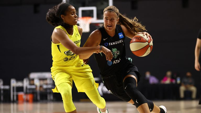 Ionescu drives forward against the Seattle Storm