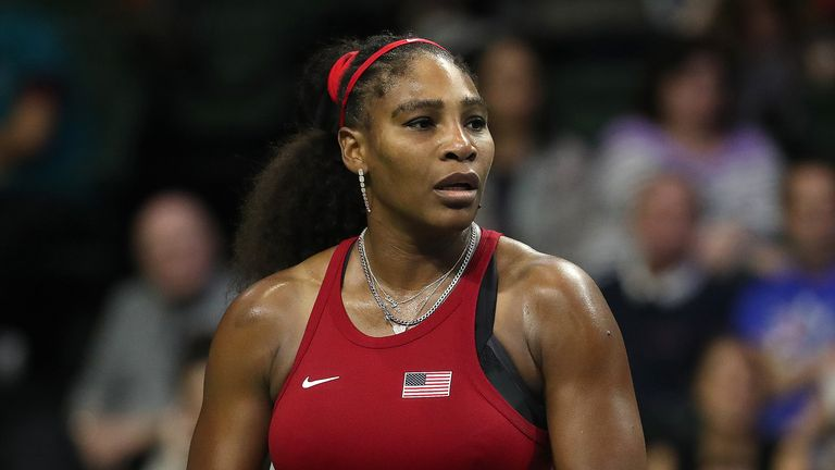 Serena Williams of the United States reacts while competing against Anastasija Sevastova of Latvia during the 2020 Fed Cup qualifier between USA and Latvia at Angel of the Winds Arena on February 08, 2020 in Everett, Washington.