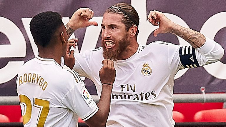 Sergio Ramos's second-half penalty saw Real Madrid beat Athletic Bilbao 1-0 at San Mames as Zinedine Zidane's side remained in charge of the La Li