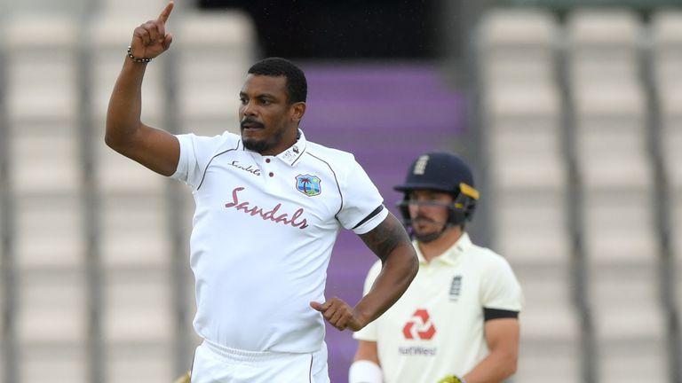 Shannon Gabriel celebrates the wicket of Dom Sibley on day one of the first #raisethebat Test