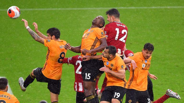 Sheffield United's John Egan scores his side's winner against Wolves