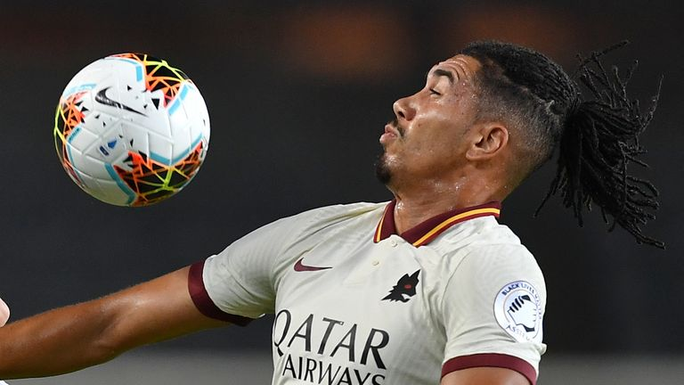TURIN, ITALY - JULY 29: Alejandro Berenguer (L) of Torino FC clashes with Christopher Smalling of AS Roma during the Serie A match between Torino FC and AS Roma at Stadio Olimpico di Torino on July 29, 2020 in Turin, Italy. (Photo by Valerio Pennicino/Getty Images)