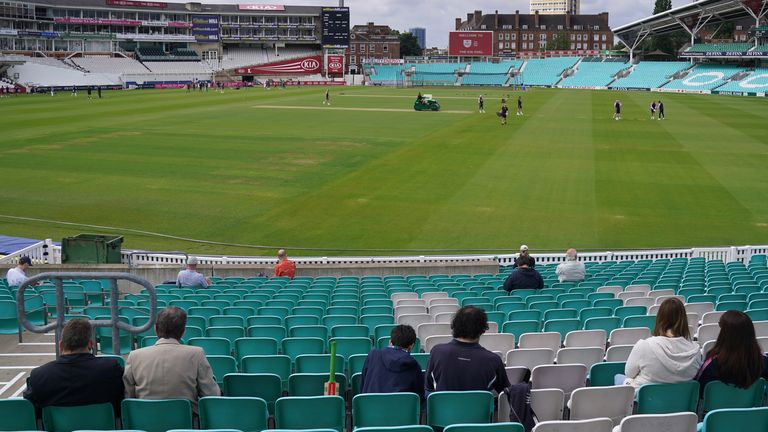Spectators socially distance at the Surrey-Middlesex friendly match