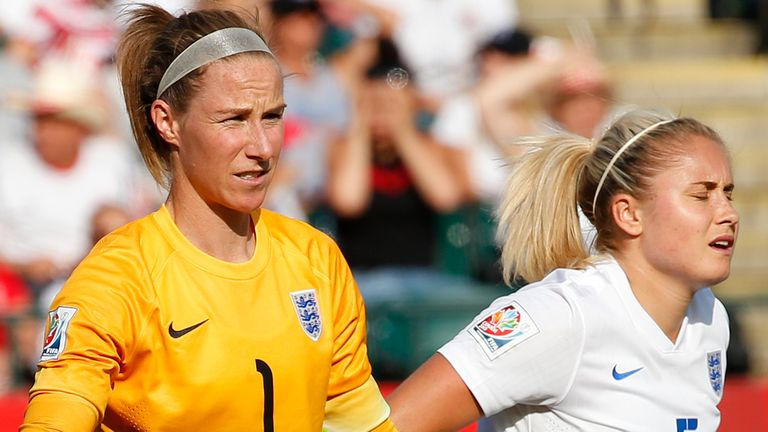 Steph Houghton and Karen Bardsley at 2015 Women's World Cup