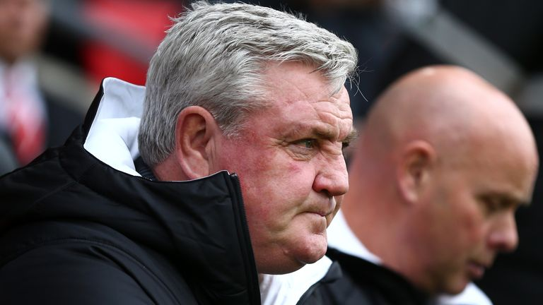 Newcastle United boss Steve Bruce looks on during the recent game against Southampton