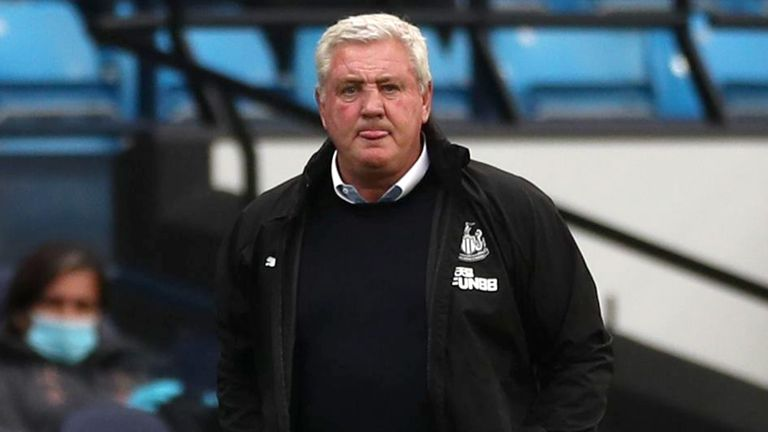 Steve Bruce, Manager of Newcastle United looks on during the Premier League match between Manchester City and Newcastle United at Etihad Stadium on July 08, 2020 in Manchester, England. Football Stadiums around Europe remain empty due to the Coronavirus Pandemic as Government social distancing laws prohibit fans inside venues resulting in all fixtures being played behind closed doors.