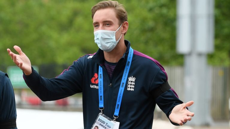 Stuart Broad walks round the ground during the first Test at the Ageas Bowl