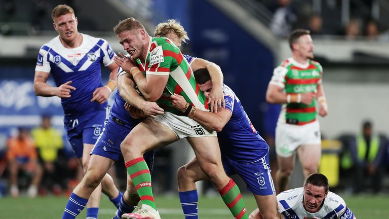 Thomas Burgess of the Rabbitohs is tackled