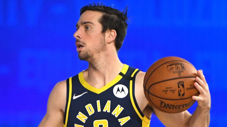 TJ McConnell controls possession for the Indiana Pacers in their scrimmage win over the Dallas Mavericks