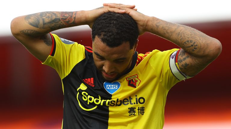 Troy Deeney shows his frustration at the Emirates Stadium
