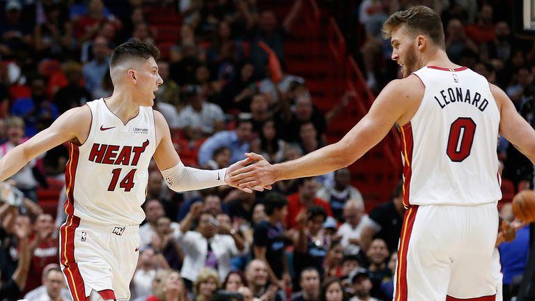 Tyler Herro and Meyers Leonard celebrate a Miami Heat basket